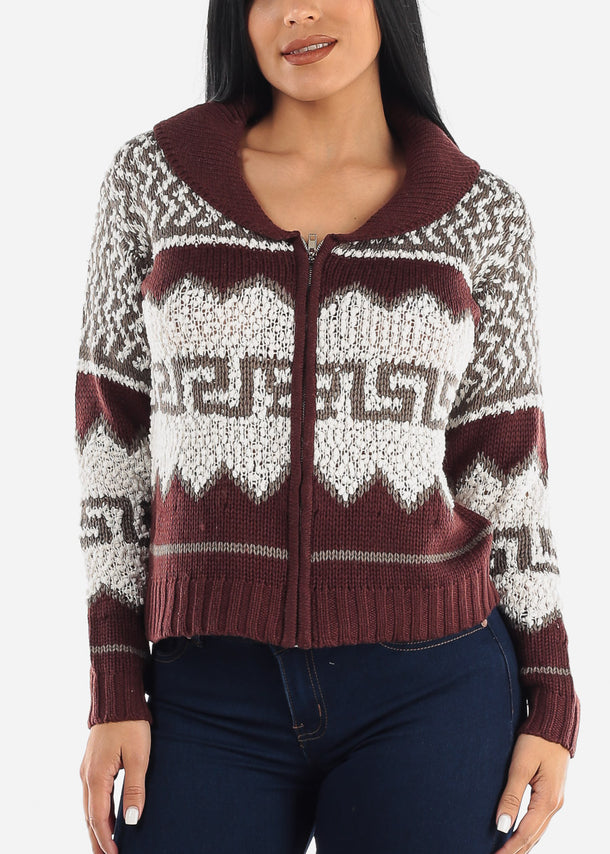 Cozy Warm Zip Up Knit Sweater