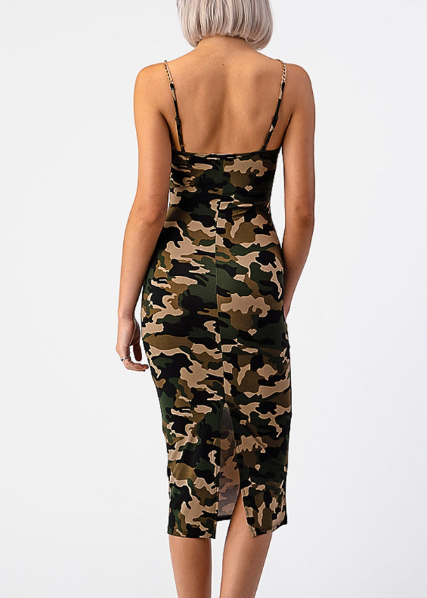 Camouflage Bodycon Midi Dress