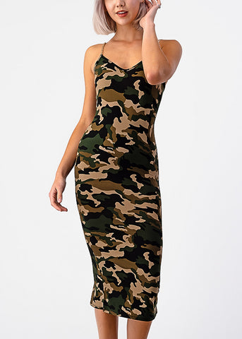 Image of Camouflage Bodycon Midi Dress