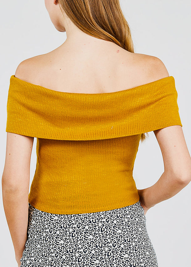 Off Shoulder Mustard Ribbed op