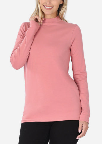Cotton Mock Neck Rose Top