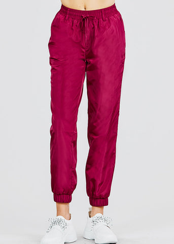 Image of Windbreaker Burgundy Jogger Pants