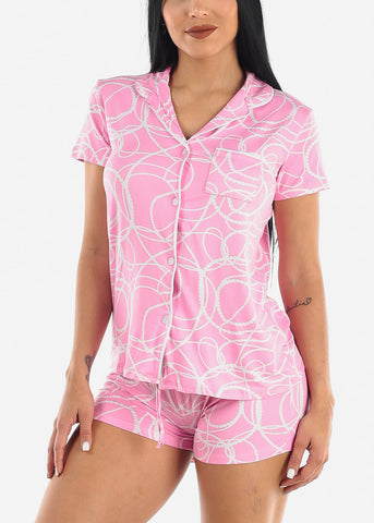 Image of Classy Pink Button Up Pajama Set