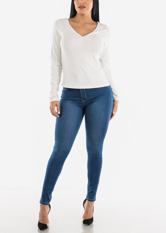Image of Vneck Ribbed Long Sleeve Top