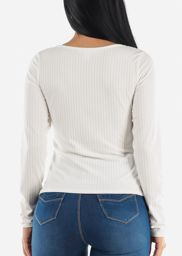 Vneck Ribbed Long Sleeve Top