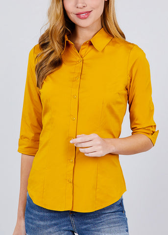 Image of Mustard Button Up Shirt