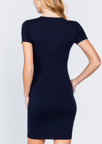 Navy V-Neck Bodycon Dress