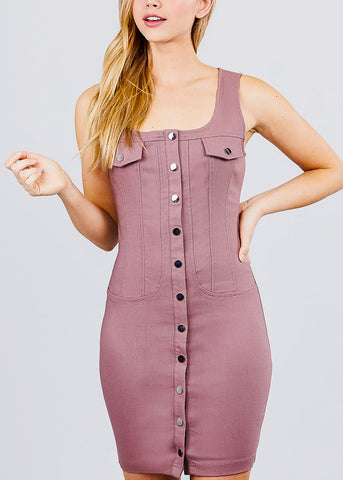 Button Down Mauve Mini Dress
