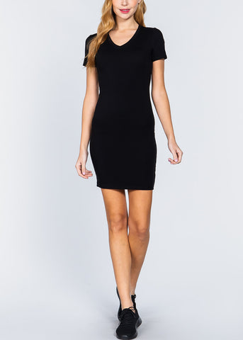 Image of Black V-Neck Bodycon Dress