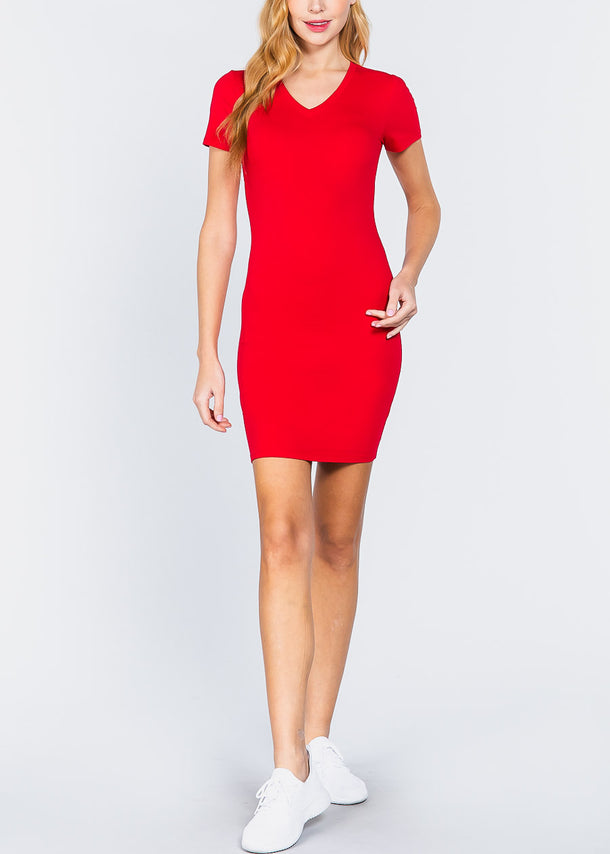 Red V-Neck Bodycon Dress