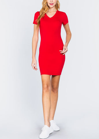 Image of Red V-Neck Bodycon Dress