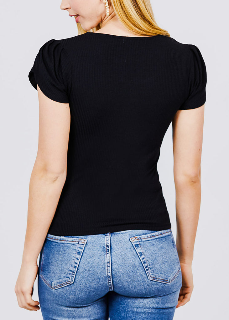 Short Tulip Puff Sleeve Black Top