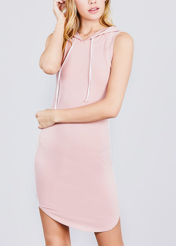 Casual Sleeveless Pink Hoodie Dress