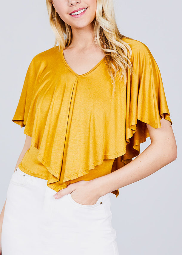 V Neck Cape Rayon Mustard Top