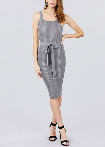 Image of Grey Knit Bodycon Midi Dress