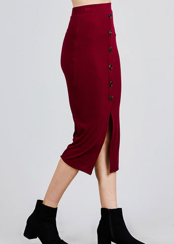 Burgundy Front Slit Ribbed Midi Skirt