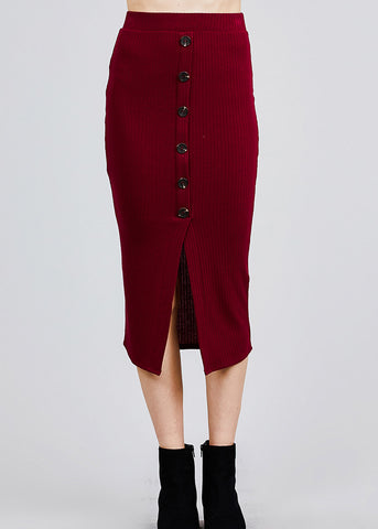 Image of Burgundy Front Slit Ribbed Midi Skirt