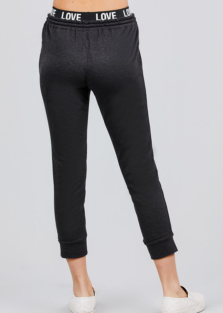 "Dark Grey Fleece Capri Jogger Pants ""Love"""