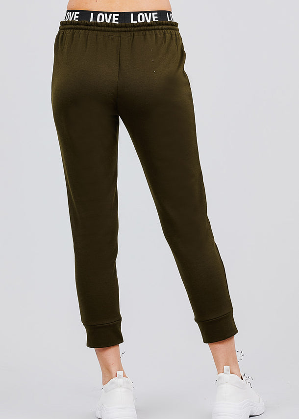 Olive Fleece Capri Jogger Pants