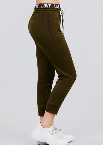 "Image of Olive Fleece Capri Jogger Pants ""Love"""
