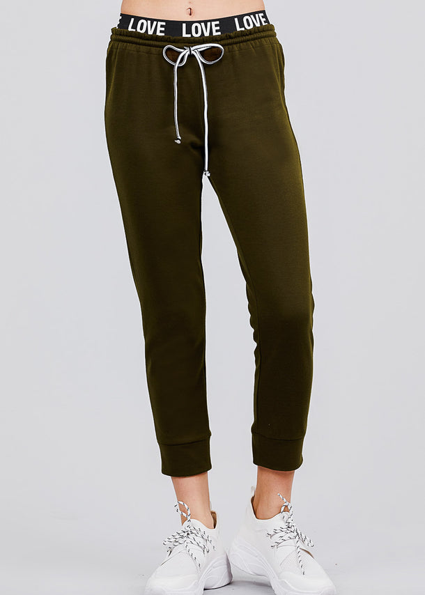 "Olive Fleece Capri Jogger Pants ""Love"""