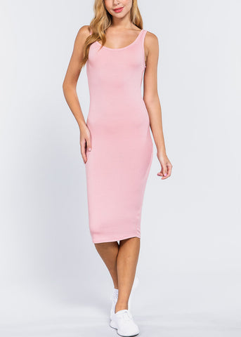Image of Pink Bodycon Midi Dress