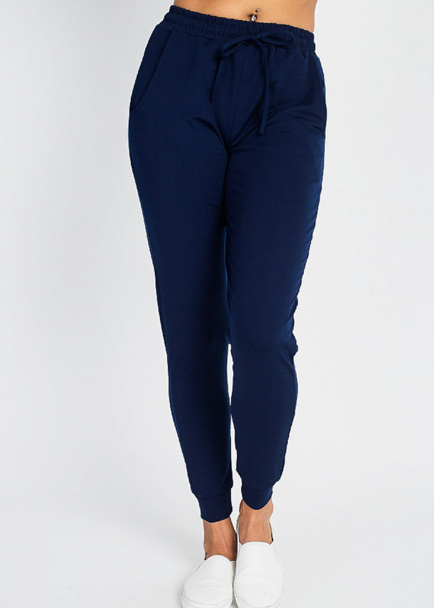 High Waist Navy Jogger Pants