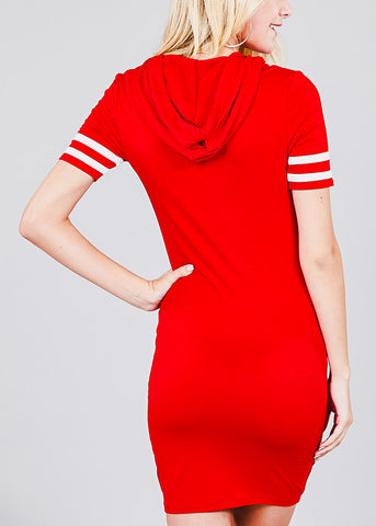 Image of Stripe Sleeves Red Hoodie Mini Dress