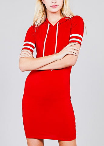 Stripe Sleeves Red Hoodie Mini Dress