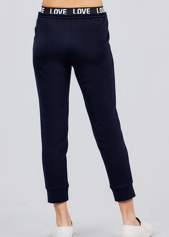 "Navy Fleece Capri Jogger Pants ""Love"""