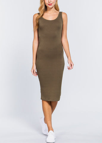 Image of Olive Bodycon Midi Dress