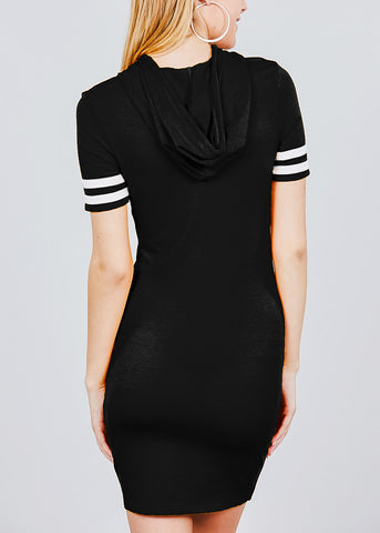 Image of Stripe Sleeves Black Hoodie Mini Dress