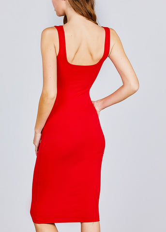 Image of Sleeveless Red Bodycon Midi Dress