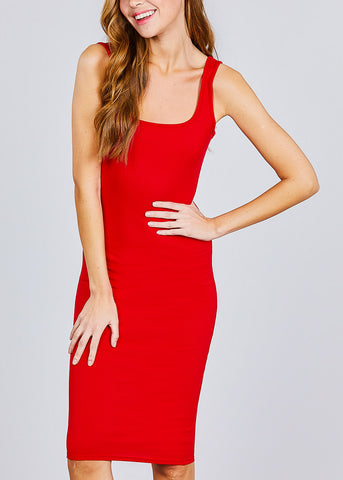 Sleeveless Red Bodycon Midi Dress