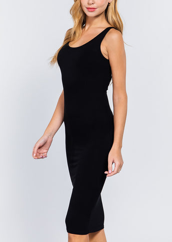 Image of Black Bodycon Midi Dress