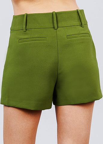 Image of High Waisted Dressy Green Shorts