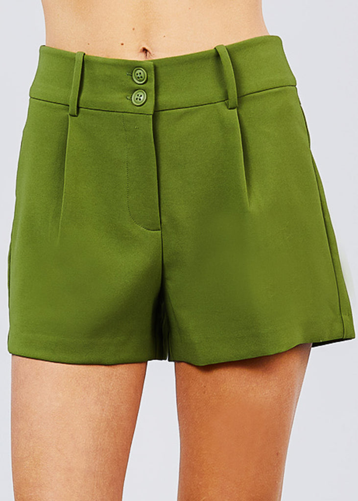 High Waisted Dressy Green Shorts