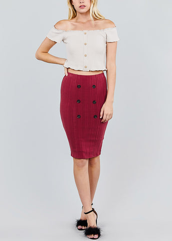 Button Front Brick Red Ribbed Midi Skirt
