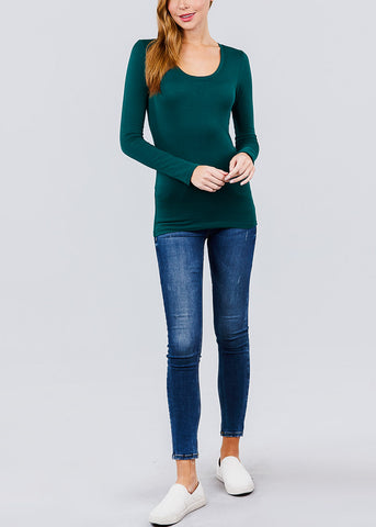 Scoop Neck Long Sleeve Basic Top (Green)