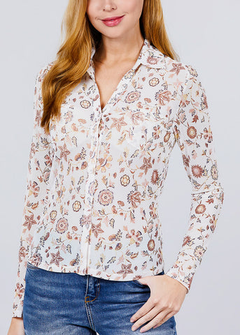 White Floral Mesh Knit Shirt
