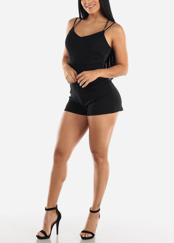 Image of Crisscross Back Black Romper