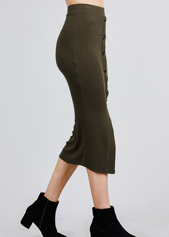 Image of Olive Front Slit Ribbed Midi Skirt