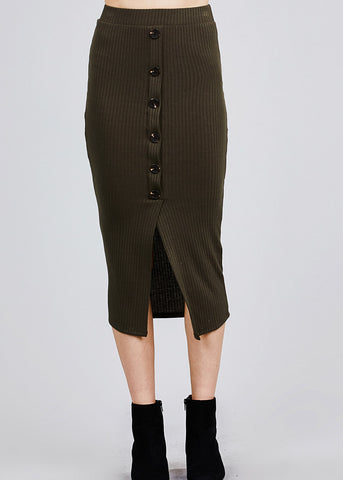 Olive Front Slit Ribbed Midi Skirt