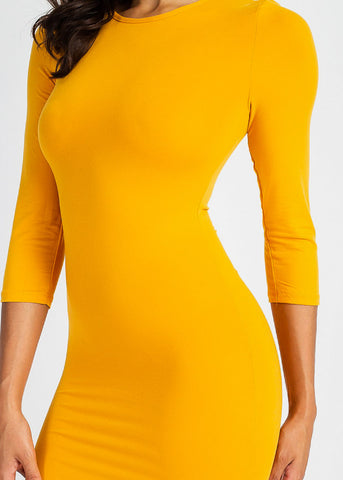 Image of Gold Quater Sleeve Bodycon Midi Dress