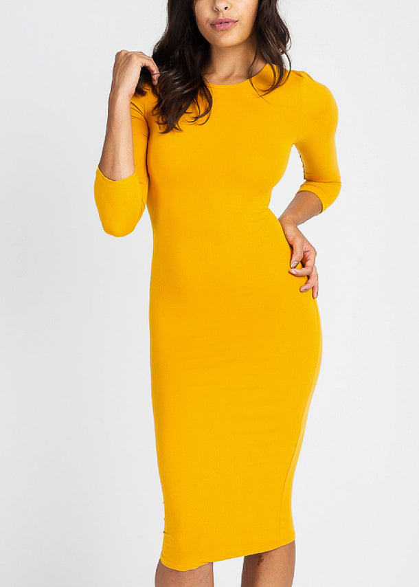 Gold Quater Sleeve Bodycon Midi Dress