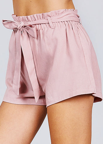 Image of Pink Paperbag Linen Shorts