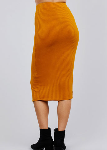 Image of Mustard Front Slit Ribbed Midi Skirt