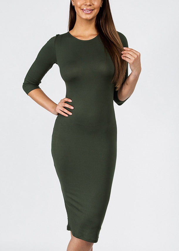 Olive Quater Sleeve Bodycon Midi Dress