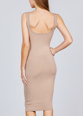 Image of Sleeveless Khaki Bodycon Midi Dress