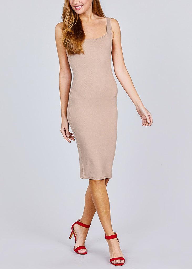 Sleeveless Khaki Bodycon Midi Dress
